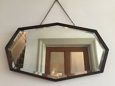 1930s Vintage Oak Angular Wall Mirror Bevelled VERTICAL HORIZONTAL 57x34cm m109