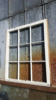 Architectural Salvage ANTIQUE WINDOW PANE FRAME RUSTIC 9 PANE 33X28