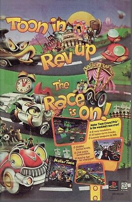 Retro Vintage ad Motor Toon Grand Prix Game - PlayStation One - Toon In Rev Up!