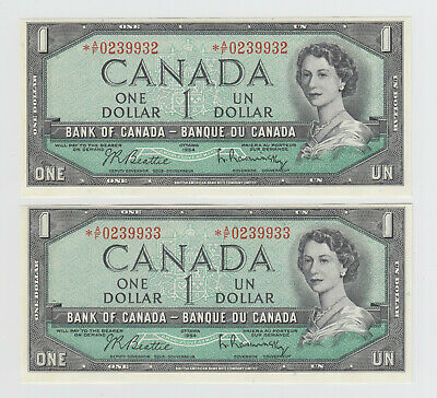 2 Consecutive Pair 1954 Bank of Canada $1 - Replacement Banknotes - *A/F Prefix