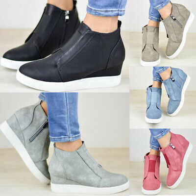 aee4a22a91b6 Womens Hidden Wedge Low Mid Heel Ankle Boots Sneakers Booties Trainer Shoes  Size