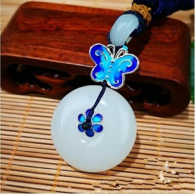 Chinese Beautiful Natural White Jade Hand-carved Lucky Buckle Jadeite Pendant