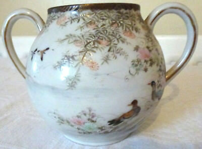 Antique* Japanese* Hand Painted Two Handled Porcelain Bowl Signed Meiji* 11cm 4""