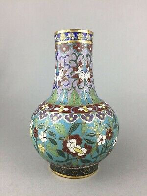 Good Heavy Antique Gilded Cloisonne Vase With Lotus Ruyi And Butterflies