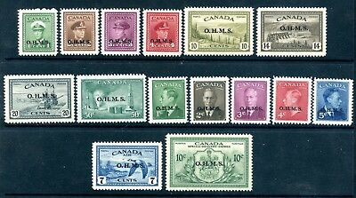 Weeda Canada O1/EO1 VF MNH nearly complete OHMS official overprints CV $197+