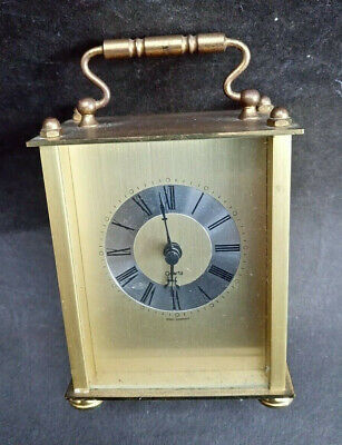 Vintage Brass Carriage Clock Swiss Scholer Quartz Battery Operated W. Germany