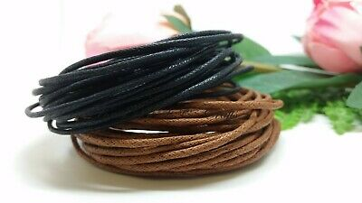 10m Waxed Cotton Cord ~ 2mm, Black or Brown, Jewellery Making, Necklace, Crafts