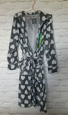 Soft Grey Heart Print Dressing Gown
