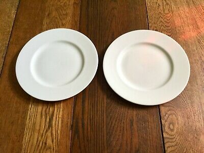 """Wedgwood Pure White Bone China 10 3/4"""" Dinner Plates Pair (2) Made in England"""