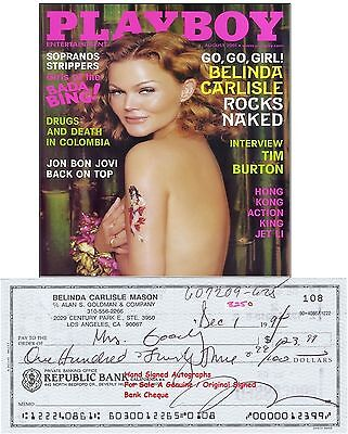 Belinda Carlisle  Music Star  Hand Signed Bank Cheque / Check Dec 1994 Rare Item