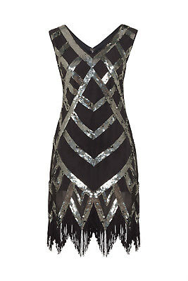 FLAPPER 1920s BLACK CHIFFON SILVER SEQUIN GATSBY DRESS FRINGED HEMLINE NEW 8