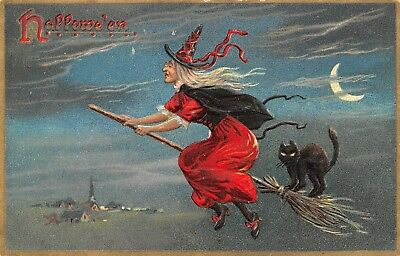 Halloween~Witch in Red Rides Broom~Black Cat on Tail~Crescent Moon~Emboss~TUCK