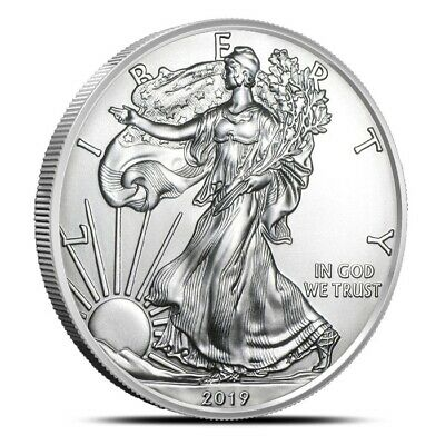 2019 $1 American Silver Eagle Coin 1 Oz .999 Fine Gem BU - Fresh From Mint Rolls