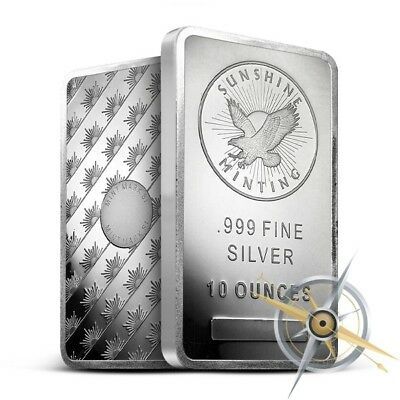 Sunshine Minting (SMI) 10 Oz .999 Silver Bar - New and Mint-Sealed - Mintmark SI