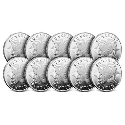 Lot of 10 - Sunshine Minting (SMI) 1 Oz .999 Silver Round - New with Mintmark SI