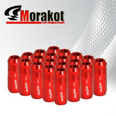 20 Piece M12 x1.25mm Close End Wheels Rims 3 Stripe 52mm Extended Lug Nuts Red