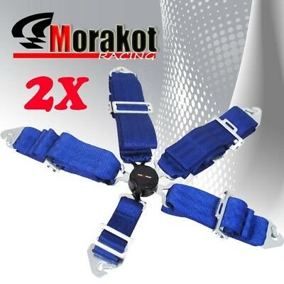 "God Snow 2x 5 Point Camlock 3"" inch Quick Release Racing Seat Belt Harness Blue"