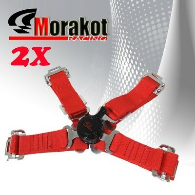 "NEW 2x (Pair) Jdm 2"" inch Strap 4 Point Camlock Racing Seat Belt Harness Red"