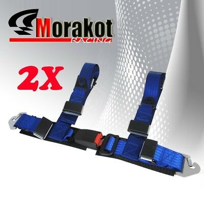 """2X New Adjustable JDM 2"""" Inch 4 point Strap Racing Safety Seat Belt Harness Blue"""