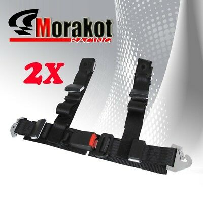 """2X New Universal JDM 2"""" Inch 4 point Strap Racing Safety Seat Belt Harness Black"""
