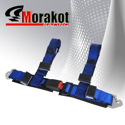 """Universal  Adjustable 2"""" Inch 4 point Strap Racing Safety Seat Belt Harness Blue"""