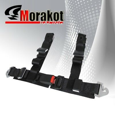 """New Universal JDM 2"""" Inch 4 point Strap Racing Safety Seat Belt Harness Black"""