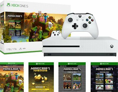 Microsoft Xbox One S 1TB Minecraft Creators Bundle, 4K Ultra HD Blu-ray - White