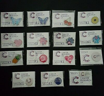 "(SOLD INDIVIDUALLY)Brand New&Sealed Assortment Of ""Cancer Research UK""Pin Badges"