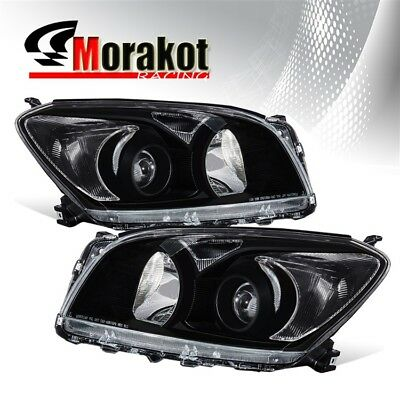Factory Chrome Housing Clear Amber Reflector Projector Headlights For 09-12 Rav4