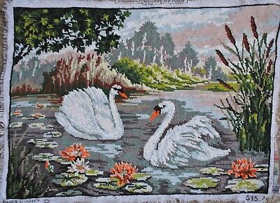 Vintage White Swans Lake Needlepoint Orange Waterlilies  Embroidery Tapestry