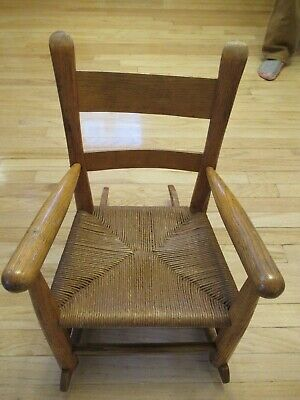 Vintage 1960s Shaker Wooden Rocking Chair Woven Seat In Very Good