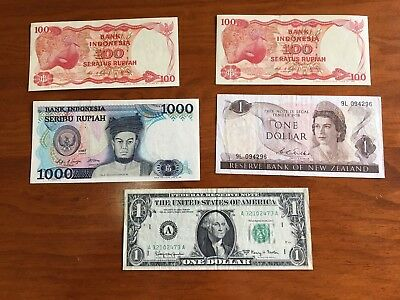 Bank Notes mixed Indonesian 100 and 1000 Rupiah, New Zealand $1.00 and US  $1.00