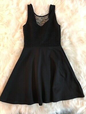 Hm Divided Juniors Black Lace Fit And Flare Dress Party Backless