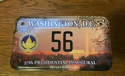 2013 57th Presidential Inaugural Motorcycle License Plate Obama Biden