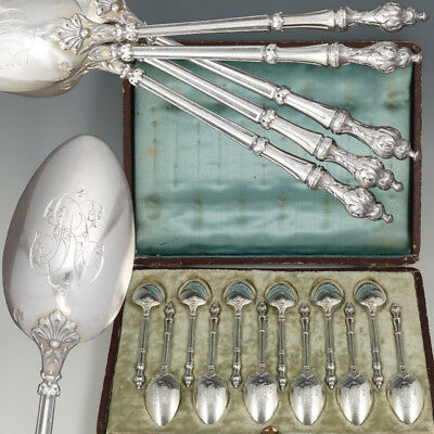 12 Antique French Sterling Silver Teaspoons Set Russian Tea Coffee Moka Spoons
