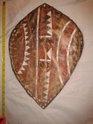 Early-Mid 20Th C. African/zulu Cow Hide Decorated Shield.