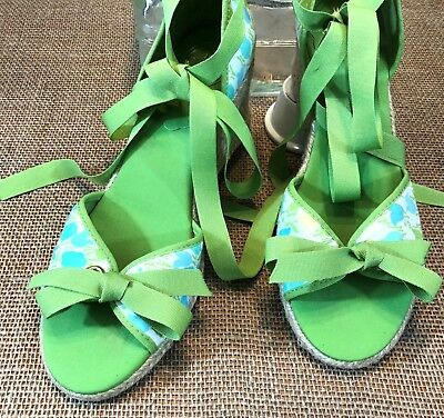 2eb786b52f Lilly Pulitzer Womens Shoes Green Blue Flowers Open Toe Espadrille Wedge  Heels~7
