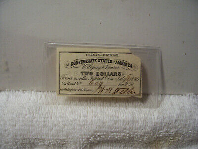 Authentic Confederate 2 Dollars Bond Coupon Came from a $50 bond 1861