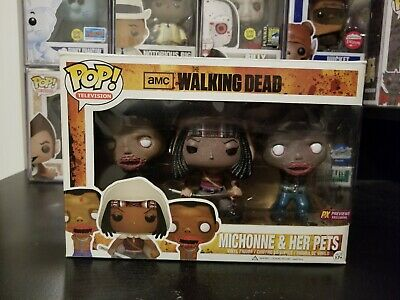 Funko Pop! The Walking Dead Michonne and her Pets 3 Pack Previews Exclusive GITD