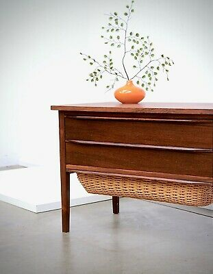 1960s Vintage Danish Modern ROSEWOOD Cane Storage Table or Bench Etc Mid Century