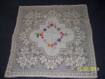 Vintage  Small Tablecloth, Embroidery Flowers Wide Crochet Edge  88Cm X 85Cm