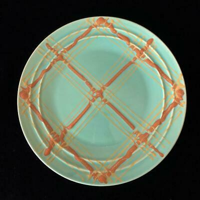 """Vintage Pacific Pottery Hostess Ware ~Plaid~ Sea Green 11"""" Dinner Plate!"""