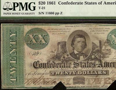 1861 $20 Dollar Bill Confederate States Currency Civil War Note Money T-21 Pmg