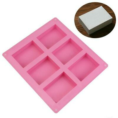 6 x Cavity Rectangle Soap Mold Silicone Mould Tray for Homemade DIY Making 6N