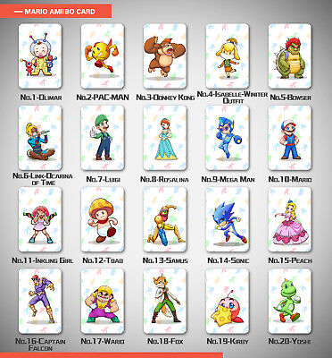 20 Full Set NFC PVC Tag Game Cards for AMIIBO Kart 8 Game Switch Wii With Champ