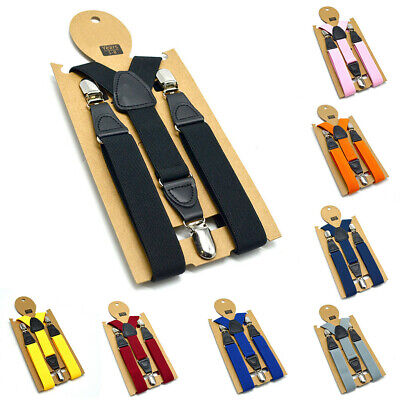 Kids Boys Clothing Matching Braces 3 Clips Suspenders Stretch Elastic Suspenders