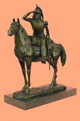 Handcrafted Detailed Rich Patina French Cavalryman Bronze Sculpture Home Art Dec