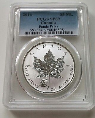 2016 Canada 1 Oz Silver Maple Leaf Coin Panda Privy Pcgs Sp 69 $5 Ml Canadian Ag