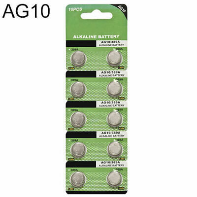 10pcs AG10 LR1130 389 LR54 L1131 189 Alkaline Button Coin Cell Battery Pack