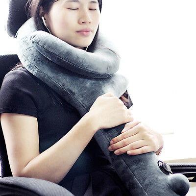 Travel Neck Chin Support Pillow Soft Velvet Q shape Inflatable Adjustable